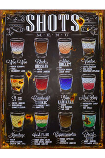Blechschild Shots-Menu