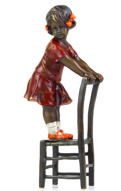 Bronze Girl on Stool