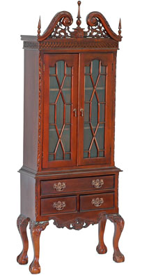 Highboy Vitrine aus Mahagoni